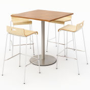 "KFI 36"" Square Bistro Table & 4 Barstool Set - River Cherry Table Top with Natural Stools"