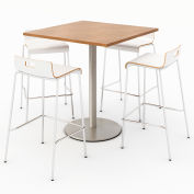 "KFI 36"" Square Bistro Table & 4 Barstool Set - River Cherry Table Top with White Stools"