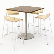 "KFI 36"" Square Bistro Table & 4 Barstool Set - Studio Teak Table Top with Natural Stools"