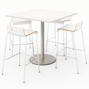 "KFI 36"" Square Bistro Table & 4 Barstool Set - Designer White Table Top with White Stools"