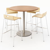 "KFI 42"" Round Bistro Table & 4 Barstool Set - River Cherry Table Top with Natural Stools"