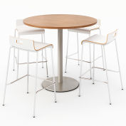 "KFI 42"" Round Bistro Table & 4 Barstool Set - River Cherry Table Top with White Stools"