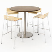 "KFI 42"" Round Bistro Table & 4 Barstool Set - Studio Teak Table Top with Natural Stools"