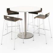 "KFI 42"" Round Bistro Table & 4 Barstool Set - Designer White Table Top with Espresso Stools"