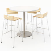 "KFI 42"" Round Bistro Table & 4 Barstool Set - Designer White Table Top with Natural Stools"