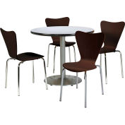 "KFI Table & 4 Chair Set - Stacking Wood Chairs, Espresso Finish & 42""W x 29""H Round Grey Table"