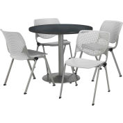 "KFI Dining Table & Chair Set - Round - 42""W x 29""H - Light Gray Plastic Chairs with Graphite Table"