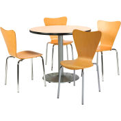 "KFI Table & 4 Chair Set - Stacking Wood Chairs, Natural Finish & 42""W x 29""H Round Natural Table"