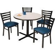"KFI Table & 4 Chair Set - Vinyl Navy Café Chairs & 42""W x 29""H Round Grey Nebula Table"