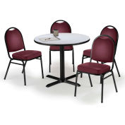 "KFI Table & 4 Chair Set - Vinyl Burgundy Stack Chairs & 42""W x 29""H Round Grey Nebula Table"