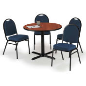 "KFI Table & 4 Chair Set - Fabric Blue Stack Chairs & 42""W x 29""H Round Mahogany Table"
