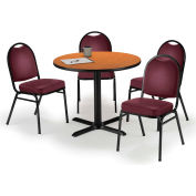 "KFI Table & 4 Chair Set - Vinyl Burgundy Stack Chairs & 42""W x 29""H Round Medium Oak Table"