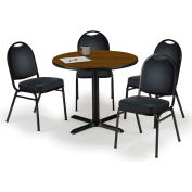 "KFI Dining Table & Chair Set - Round - 42""W x 29""H - Black Vinyl Chairs with Walnut Table"