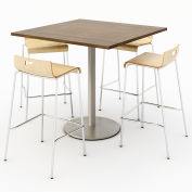 "KFI 42"" Square Bistro Table & 4 Barstool Set - Studio Teak Table Top with Natural Stools"