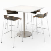 "KFI 42"" Square Bistro Table & 4 Barstool Set - Designer White Table Top with Espresso Stools"