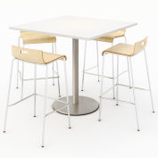 "KFI 42"" Square Bistro Table & 4 Barstool Set - Designer White Table Top with Natural Stools"