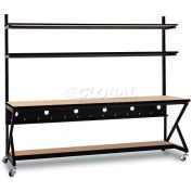 "Kendall Howard™ 96"" Performance 100 Series LAN Station with Half Bottom Shelf, Hard Rock Maple"