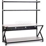 "Kendall Howard™ 72"" Performance 200 Series LAN Station with Full Bottom Shelf, Folkstone Gray"
