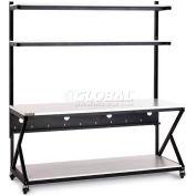 "Kendall Howard™ 72"" Performance 200 Series LAN Station with Full Bottom Shelf, Folkstone Gray"