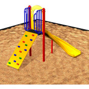 Freestanding Quarter-Turn Slide W/Tot Climbing Wall In Red/Yellow/Blue/Green Combination, Ages 2-5