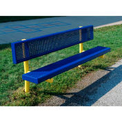 Bench W/Back - 6Ft - Coated Steel In Blue/Yellow Combination, For 5 Children