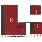 "Ulti-MATE Garage 2 Series 5-Piece Cabinet Set 106.5"" x 21"" x 80"" Red"