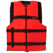 Kemp Adult Universal Life Vest, Red & Black, 20-002-ADULT-RED