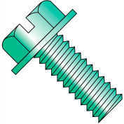 6-32X1/4  Slotted Indented Hex Washer Head Machine Screw Full Thrd Zincd Green, Pkg of 10000