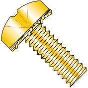 6-32X3/8  Phillips Pan External Sems Machine Screw Fully Threaded Zinc Yellow, Pkg of 10000