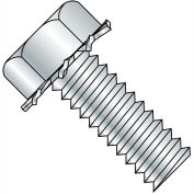 Made In USA 8-32X1/2 Unslot Indent Hex 5/16 AF Sems Machine Screw Full Thread Zinc, Pkg of 10000