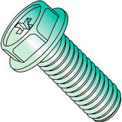 8-32X1/2  Phillips Indented Hex Washer Machine Screw Fully Threaded Zincd Green, Pkg of 7000