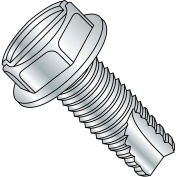 8-32X2  Slotted Indented Hex Washer Thread Cutting Screw Type 23 Full Thrd Zinc, Pkg of 1800