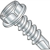 #10 x 3/8 Slotted Indented Hex Washer Self Drilling Screw Full Thread Zinc Bake - Pkg of 9000
