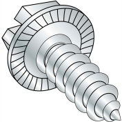 10X1  Indent Hex Washer Slot Self Tapping Screw Type A B Serrated Full Thrd Zinc, Pkg of 5000