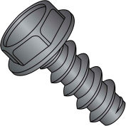 10X1  Unslotted Indent Hex Washer Self Tapping Screw Type B Full Thread Black Oxide, Pkg of 5000
