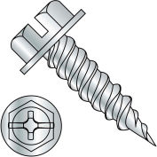 "10-16X1 1/2  Combo (slot/phil) Ind Hexwasher 1/4"" Across Flats F/T Self Piercing Screw Zinc,2000 pcs"