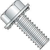 10-32X3/4  Unslotted Hex Washer External Sems Machine Screw Fully Threaded Zinc, Pkg of 4000
