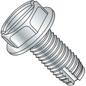 10-32X1  Slotted Indented Hex Washer Thread Cutting Screw Type 1 Full Thrd Zinc, Pkg of 3000