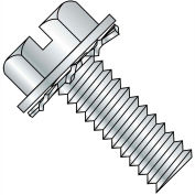 12-24X3/8  Slotted Hex Washer External Sems Machine Screw Fully Threaded Zinc Bake, Pkg of 3000