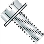 12-24X3/8  Slotted Indented Hex Washer Head Machine Screw Fully Threaded Zinc, Pkg of 6000