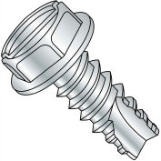 #14 x 3/4 Slotted Indented Hex Washer Thread Cutting Screw Type 25 Full Thread Zinc - Pkg of 3000