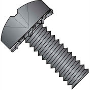 1/4-20X1  Phillips Pan External Sems Machine Screw Fully Threaded Black Zinc Bake, Pkg of 1000