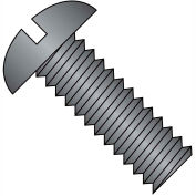 1/4-20X1  Slotted Round Machine Screw Fully Threaded Black Zinc, Pkg of 2500