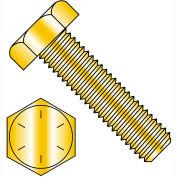 3/8-16X9  Hex Tap Bolt Grade 8 Fully Threaded Zinc Yellow, Pkg of 100