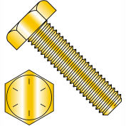 Made In USA 3/8-24X3 1/2  Hex Tap Bolt Grade 8 Fully Threaded Zinc Yellow, Pkg of 100