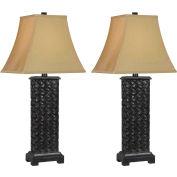 """Kenroy Lighting, Woven 2-Pack Table Lamp, 32192MB, Mottled Bronze Finish, Resin, 14""""L"""