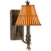 "Kenroy Lighting, Kwai 1 Light Wall Sconce, 90451BH, Bronze Heritage Finish, Metal & Bamboo, 9""L"