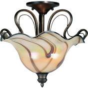 """Kenroy Lighting, Inverness 2 Light Semi-Flush, 90898TS, Tuscan Silver Finish, Metal, 18""""L"""