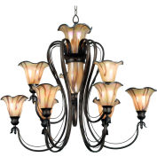 "Kenroy Lighting, Inverness 12 Light Chandelier, 90899TS, Tuscan Silver Finish, Metal, 37""L"