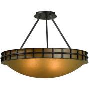 "Kenroy Lighting, Pane 3 Light Semi Flush, 91597FGRPH, Forged Graphite, Metal & Glass, 17""L"